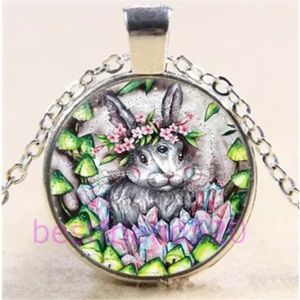 Rabbit And Flower Art Glass Pendant Necklace NWOT